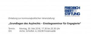 Einladung Asylrecht in Finsterwalde