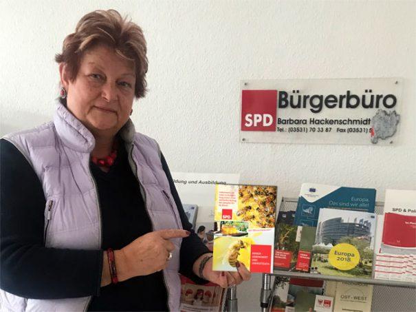 SPD-Landtagsabgeordnete Barbara Hackenschmidt - für die Umwelt und für unsere Zukunft.